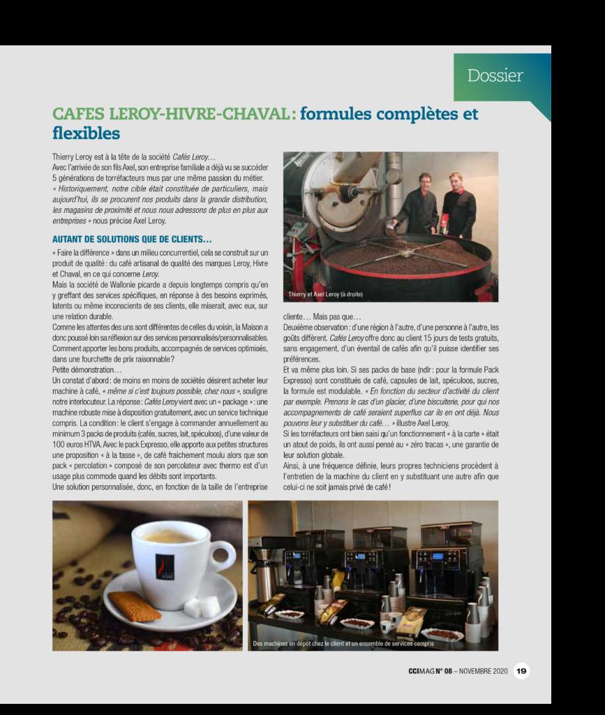 """""""CAFES LEROY-HIVRE-CHAVAL : formules complètes et flexibles"""" Interview réalisée par  CCIMag."""